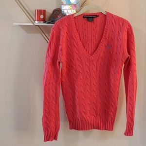 Polo Ralph Lauren Pink Cable Knit Sweater.
